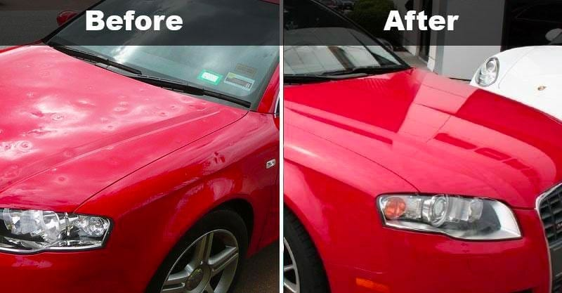A before and after picture of hail damage on a red sedan after paintless dent repair.