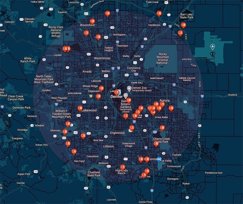 Hail map Denver, Colorado