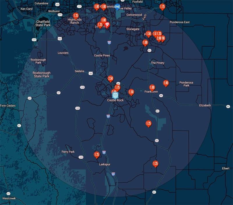 Hail map Castle Rock, Colorado