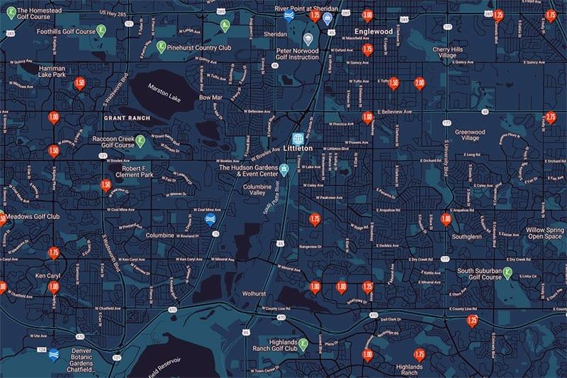 Hail map Littleton, Colorado