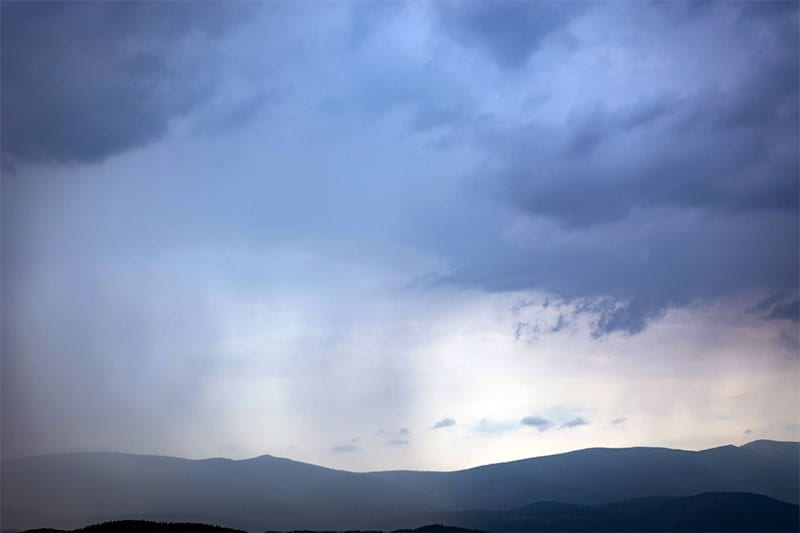hailstorm over the mountains