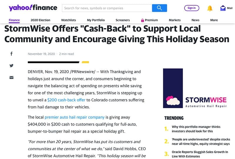 StormWise 2020 holiday offer on Yahoo Finance